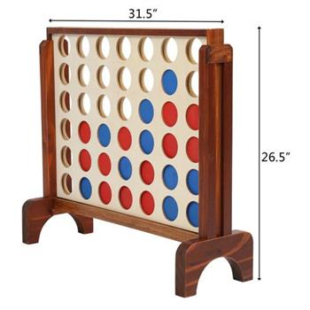 ant Wooden 4 in a Row Game with Storage Bag,  Family Game Fun for Adults and Kids,Brown