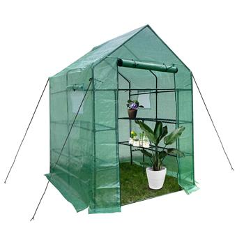 """Green House 56"""" W x 56"""" D x 76"""" H,Walk in Outdoor Plant Gardening Greenhouse 2 Tiers 8 Shelves - Window and Anchors Include(Green)"""