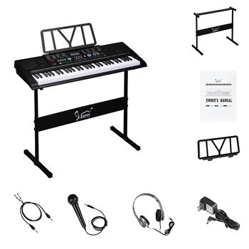 Glarry GEP-102 61 Key Portable Keyboard with Piano Stand, Built In Speakers, Headphone, Microphone, Music Rest, LCD Screen, USB Port & Teaching Modes
