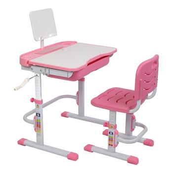 80Cm Hand-Operated Lifting Table Top Can Tilt Children's Study Table And Chair Pink(With Reading Frame   Without Lamp)