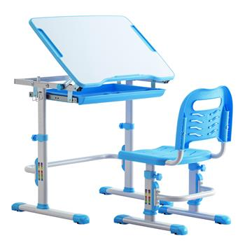Student Desks and Chairs Set C Style White Lacquered White Surface Blue Plastic [70x38x(52-74)cm]