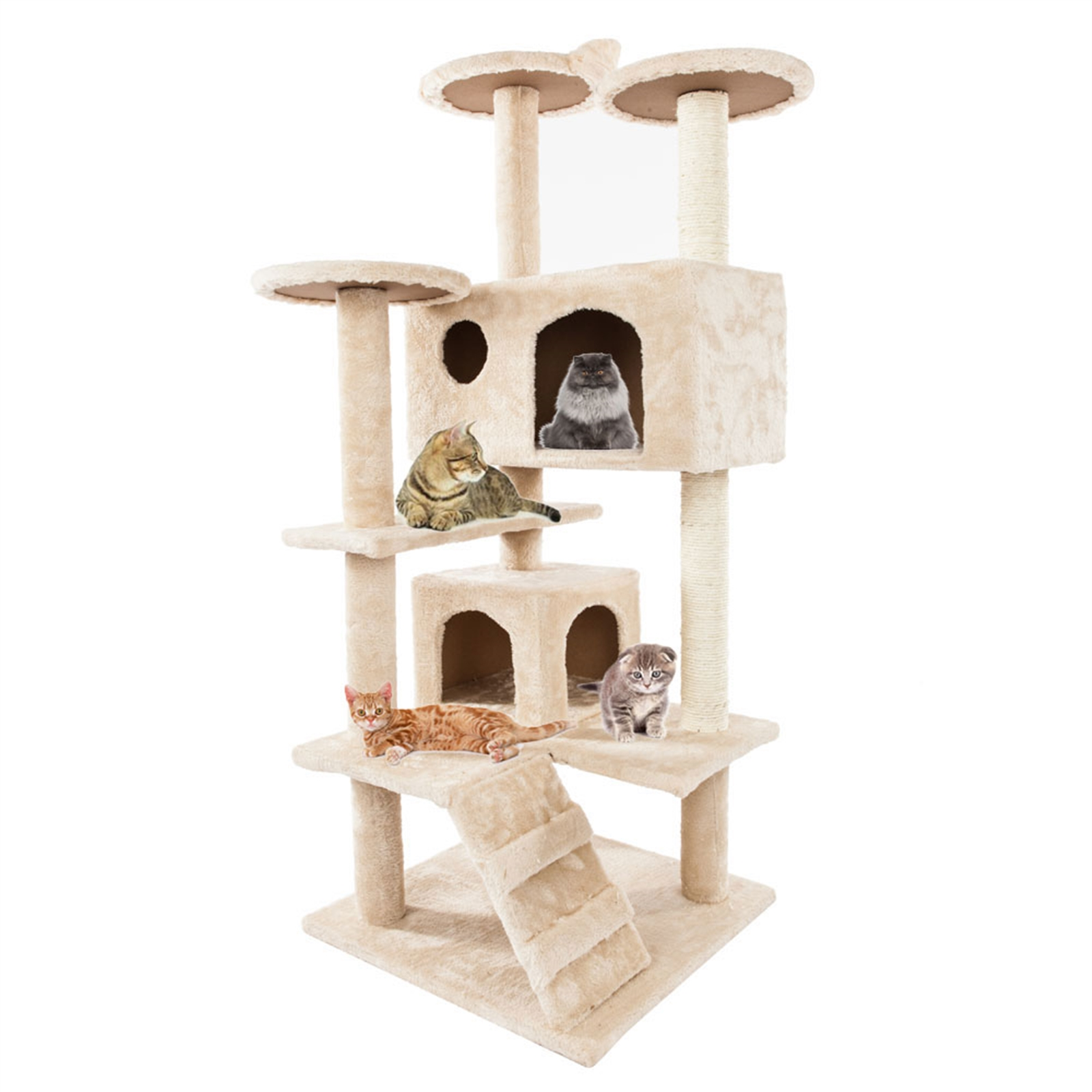 "52"" Solid Cute Sisal Rope Plush Cat Climb Tree Cat Tower Beige"