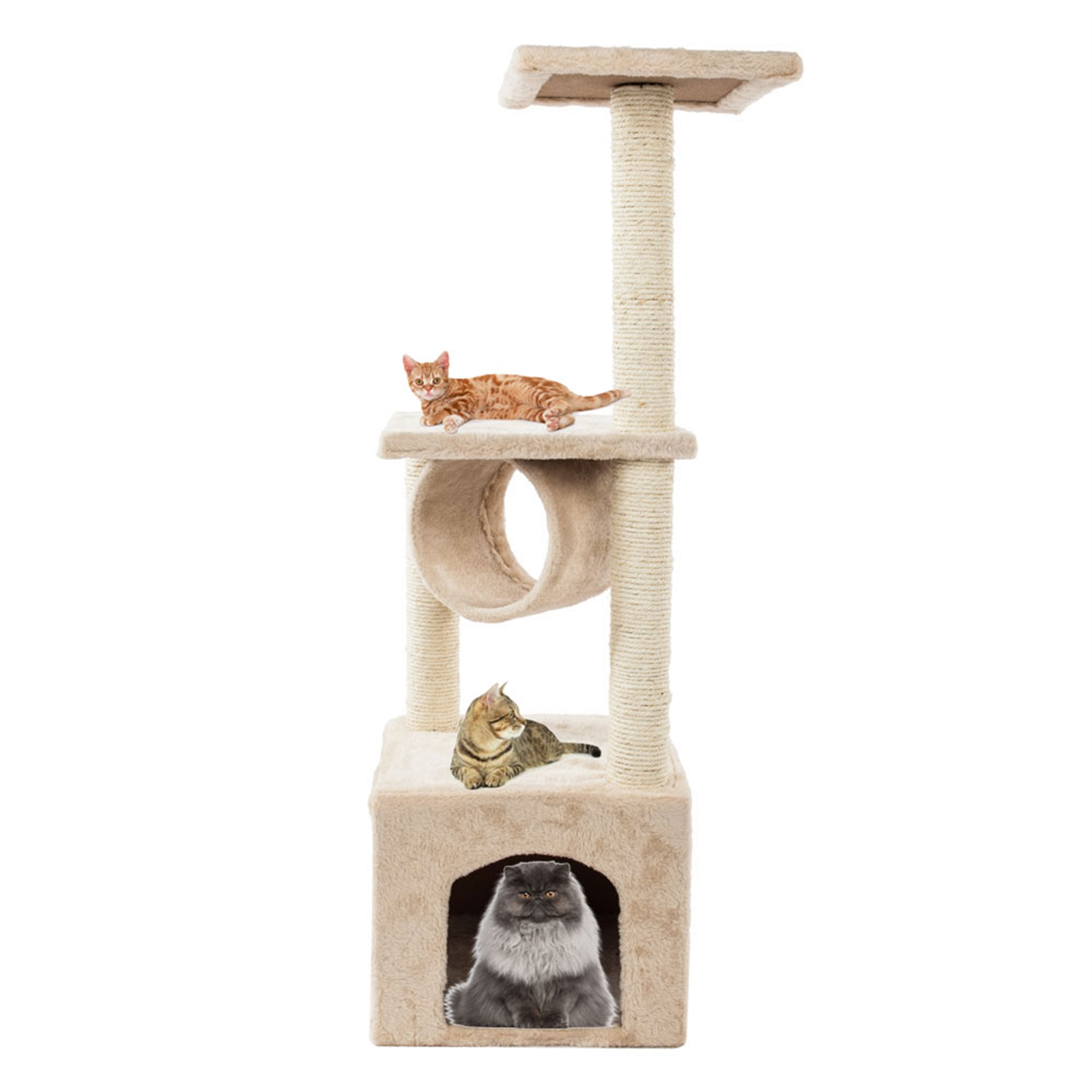 "36"" Solid Cute Sisal Rope Plush Cat Climb Tree Cat Tower Beige"