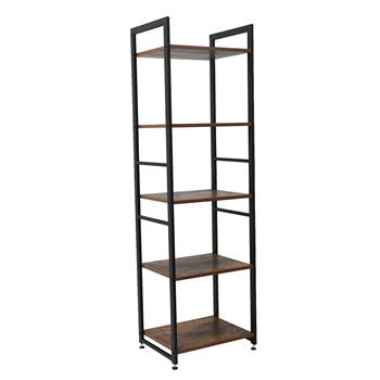 5-Tier Corner Shelf, Free Standing Ladder Shaped Plant Flower Stand Rack Bathroom Storage Tower Industrial Style Utility Organizer Wood Look Accent Me