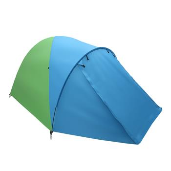 4-Person Double Layer Family Camping Tent Outdoor Instant Cabin Tent for Hiking Backpacking Trekking Blue & Green