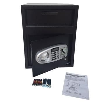 DS45TE Home Office Security Keypad Lock Electronic Digital Steel Safe Black Box & Silver Gray Panel