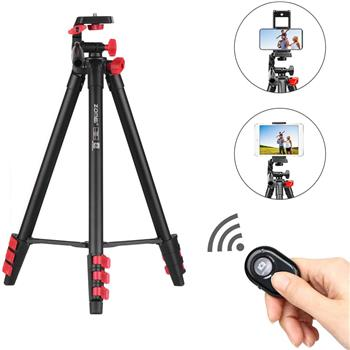 Zomei T80 Portable Tripod with Phone Clip and Bluetooth Remote Control Black Red