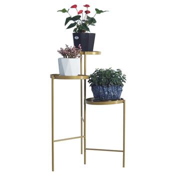 Tri-Level Metal Plant Stand Gold