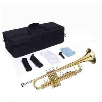 Glarry Brass Trumpet Bb with 7C Mouthpiece for Standard Student or Beginner Golden