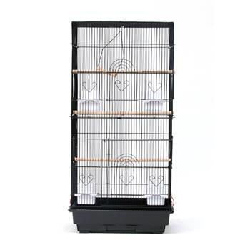 "36"" Bird Parrot Cage Canary Parakeet Cockatiel LoveBird Finch Bird Cage with Wood Perches & Food Cups 3 Bird Toys Black"