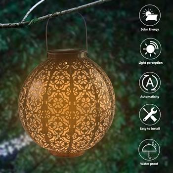 LED F5 Straw Hat Lamp Beads Solar Light Control Automatic Induction Garden Decoration Lamp Outdoor Waterproof Garden Retro Iron Lamp Battery Capacity