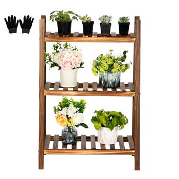Artisasset 3 Layers 60 Cm Long Succulent Indoor And Outdoor Multifunctional Carbonized Wood Plant Rack