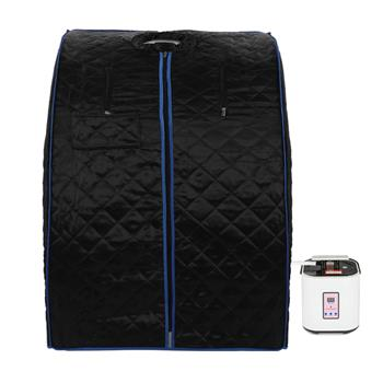 Steam Sauna Box Black (Black Cloth Cover, Blue Edging)