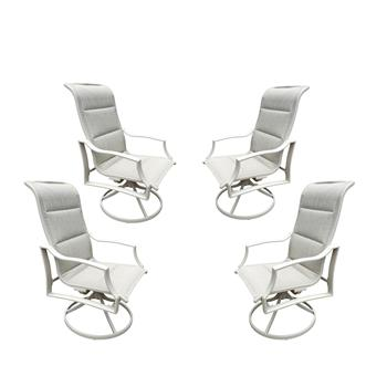 4 Pcs Textilene Swivel Dining Chairs, for Outdoor Lawn & Garden,Kitchen & Dining,White