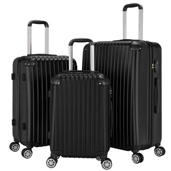 """3-Piece 20"""" & 24"""" & 28"""" Luggage Set Travel Bag ABS Trolley Spinner Suitcase with TSA Lock Black"""