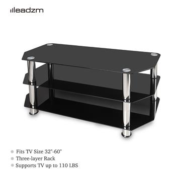 "Leadzm TSG005 32-60"" Corner Floor TV Stand 3-Tier Tempered Glass Shelves"