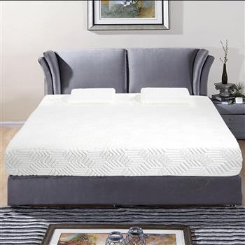 """10"""" Two Layers Traditional Firm High Softness Cotton Mattress with 2 Pillows (Full Size) White"""