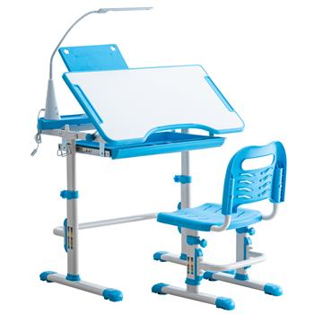 Student Desks and Chairs Set C Style with Light White Lacquered White Surface and Blue Plastic [70x38x(52-74)cm]