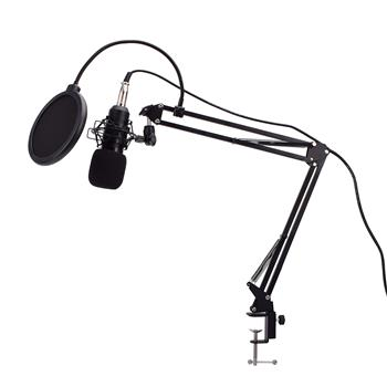Live Audio BM-800 All Black Series Set Equipment Condenser Microphone 35 Type Metal Stand Metal Shock-Proof Frame 2.5m Audio Cable Usb Sound Card Spon