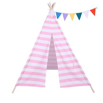 Indian Tent Children Teepee Tent Baby Indoor Dollhouse with Small Coloured Flags roller shade and pocket Pink and White Stripes