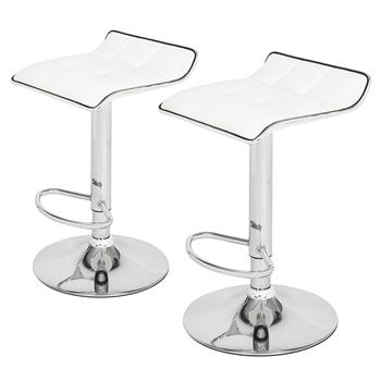 2 Soft-Packed Square Board Curved Foot Bar Stools Pu Fabric White