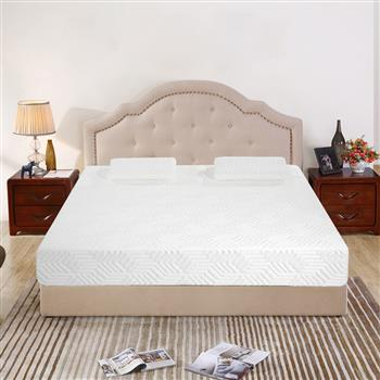 """12"""" Three Layers Cool Medium High Softness Cotton Mattress with 2 Pillows (Queen Size) White"""