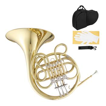 Glarry F-Key Single French Horn 3 Key Brass Gold Lacquer Single-Row Integrated French Horn with Cupronickel Mouthpiece