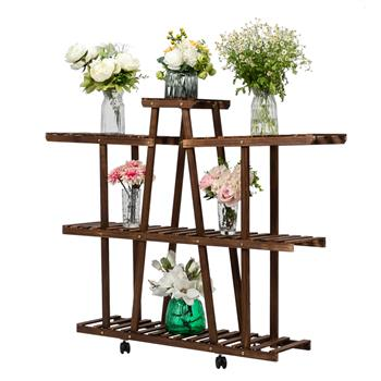 Artisasset 3-Layer 9-Seat Indoor And Outdoor Multifunctional Carbonized Ribbon Wheel Wooden Plant Stand