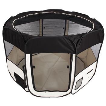 "HOBBYZOO 57"" Portable Foldable 600D Oxford Cloth & Mesh Pet Playpen Fence with Eight Panels Black"