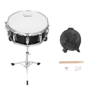"""Glarry 14 x 5.5"""" Snare Drum Poplar Wood Drum Percussion Set With Snare Stent Drum Stand Black"""