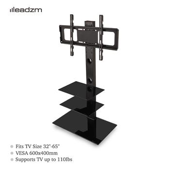 "Leadzm TSG003 32-65"" Corner Floor TV Stand with Swivel Bracket 3-Tier Tempered Glass Shelves"