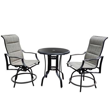 On Shine 3 PCS Outdoor Furniture,Patio Height Swivel Bar two Chairs and One Table,Bistro Set,Patio Furniture Set,Suitable for Yard,Backyard and Garden