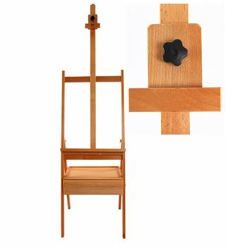 HJ-1A Beech Cabinet Easel Painting with Drawer Burlywood