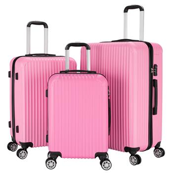 """3-Piece 20"""" & 24"""" & 28"""" Luggage Set Travel Bag ABS Trolley Spinner Suitcase with TSA Lock Pink"""