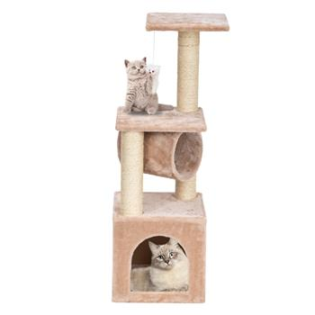 "36"" Stable Cute Sisal Cat Climb Holder Cat Tower Beige"