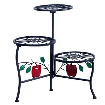 Apple Plant Stand Shelf Holds 3-Flower Pot