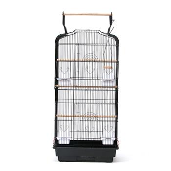 "37"" Bird Cage Pet Supplies Metal Cage with Open Play Top with tow Additional Toys Black"