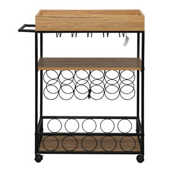 Industrial Wine Rack Cart Kitchen Rolling Storage Bar Wood Table Serving Trolley