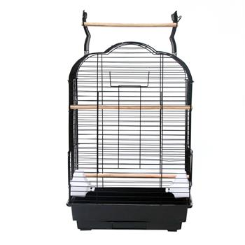 "27"" Bird Cage Pet Supplies Metal Cage with Open Play Top with tow Additional Toys Black"
