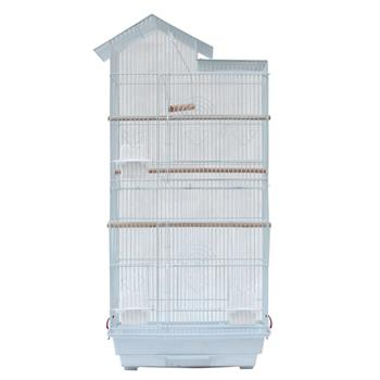 "39"" Bird Parrot Cage Canary Parakeet Cockatiel LoveBird Finch Bird Cage with Wood Perches & Food Cups 3 Bird Toys White"