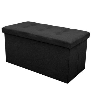 Practical Hessian Rectangle Shape Surface with Leather Button Footstool Black