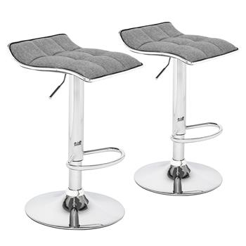 2 Soft-Packed Square Board Curved Foot Bar Stools Cotton And Linen Fabric Dark Gray