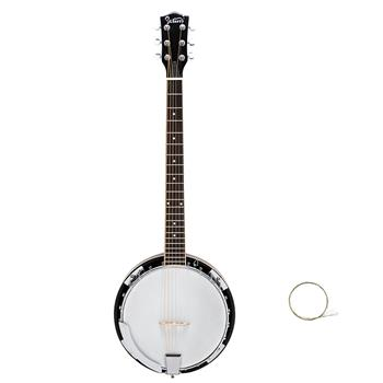 Glarry 6-String Resonator Banjo Right Handed Back & Sides Sapele with Strings