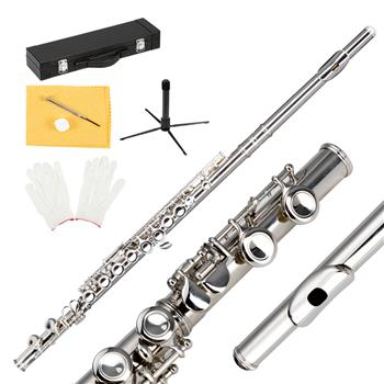 Glarry 16 Keys C Cupronickel Flute Closed Hole Separated E Key for Student Beginners Silver