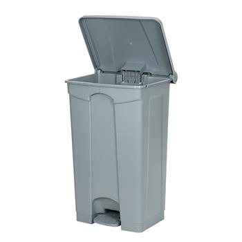 Plastic Step-On Trash Can , Grey, Hands-free Disposal, 23-Gallon Capacity