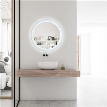 LED Bathroom Vanity Mirror with Light, 24 Inches Round Shape, Dimmable Anti-Fog Backlit Wall Mounted Defogger Circle Makeup Mirror, CRI 90 , Color Tem