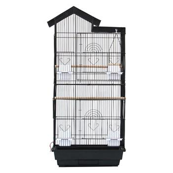"39"" Bird Parrot Cage Canary Parakeet Cockatiel LoveBird Finch Bird Cage with Wood Perches & Food Cups 3 Bird Toys Black"