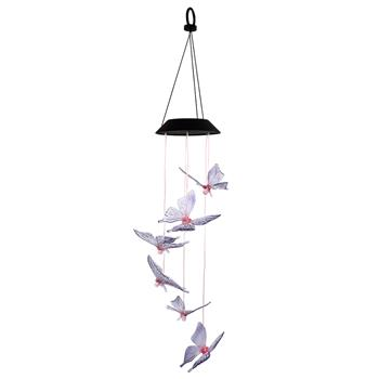2V 40maH Solar Intelligent Light Control Design and Color Shell Butterfly Wind Chime Corridor Decoration Pendant 6 F5 Lamp Beads Black Solar Panel Col