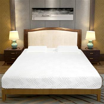 """10"""" Three Layers Cool Medium High Softness Cotton Mattress with 2 Pillows (Queen Size) White"""