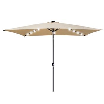 Outdoor Patio Umbrella 10 Ft x 6.5 Ft Rectangular with Crank Weather Resistant UV Protection Water Repellent Durable 8 Sturdy Aluminuim Ribs with  Pus